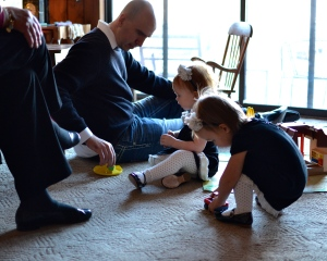 Frank and the twins playing on Christmas Day.
