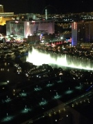 The view of the Bellagio Fountains at night from our room.