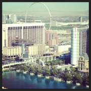 Daytime view of the fountains and the strip.